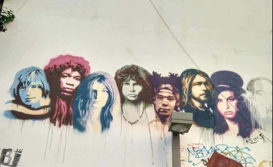 The 27 Club wall mural in Tel Avivs Florenin neighborhood