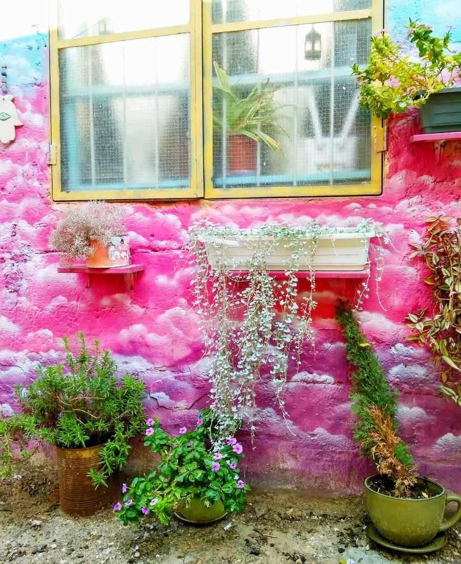 Israel Tel Aviv Florenin neighborhood colorful walls and street art
